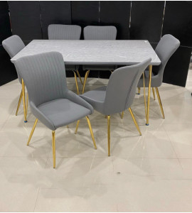 Elegant wooden dining table + 6 chairs (1 + 6) (delivery within Madinah only)
