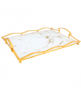 Gold rectangle steel serving tray 16463
