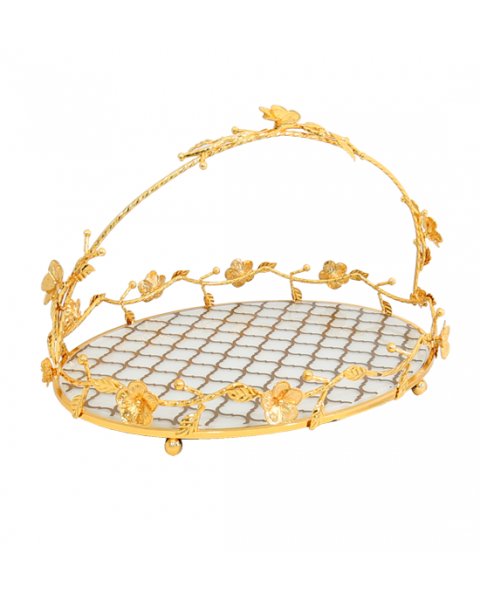 oval steel serving tray golden 217818
