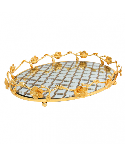 oval steel serving tray golden 217817