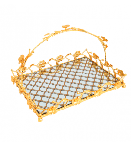 Golden rectangle steel serving tray 217811