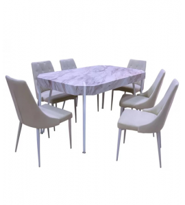 Upscale wooden dining table + 6 chairs brown color (1 +6) (Delivery in Medina only)
