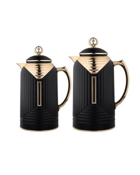 Thermos set, chandelier, 2 tablets, size 1.0 & 0.7 liter, matte black color No.K195655