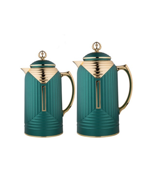 Thermos set, chandelier, 2 tablets, size 1.0 & 0.7 liter, matte green color No. K195655