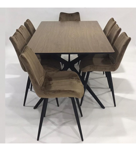 Upscale wooden dining table + 8 chairs brown color (1 + 8) (Delivery in Medina only)