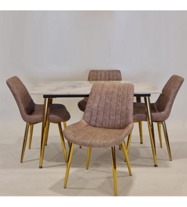 High-end marble dining table + 4 chairs Oud color (1 + 4) (Delivery inside Medina only)