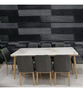 Upscale marble dining table + 8 chairs brown color (1 + 8) (Delivery inside Medina only)