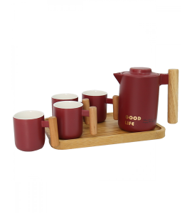 A jug set with 4 cups, decorated with red 2839-022