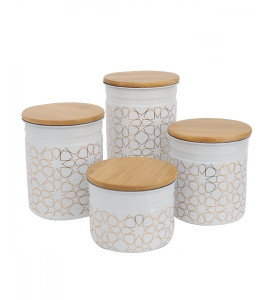 2020075 Decorated steel spice and seasoning 4-piece set