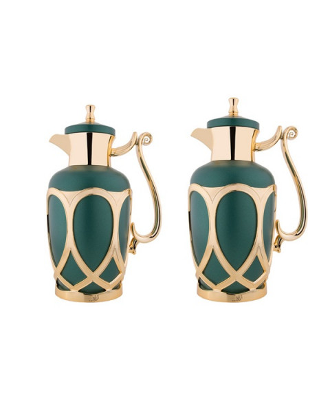 Thermos set, Al-Raya, 2 tablets, size 1.0 & 0.7 liter, matte color, green gold k195656 / 2MGNG