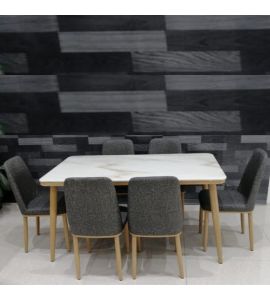 Upscale marble dining table + 6 chairs brown color (1 + 6) (Delivery inside Medina only)