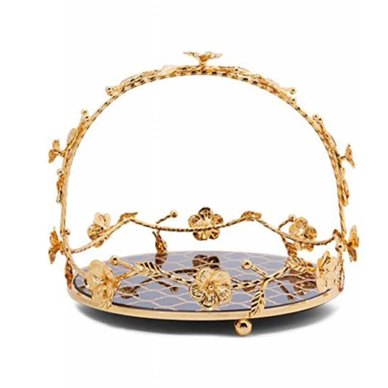 oval steel serving tray golden 217878