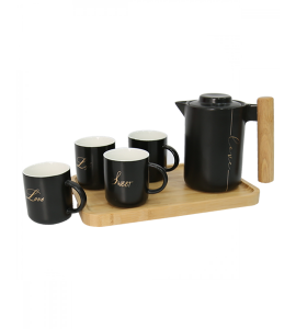 A set of jug with 4 cups, decorated with black 2853-022