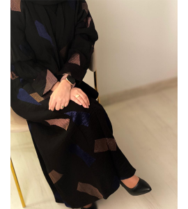 Embroidered abaya for women with a subtraction of 05528-14