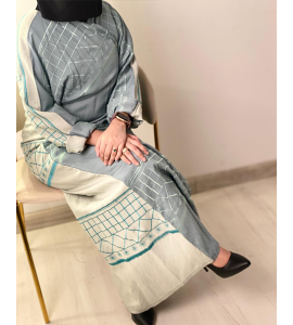 Embroidered abaya for women with a subtraction of05530-16
