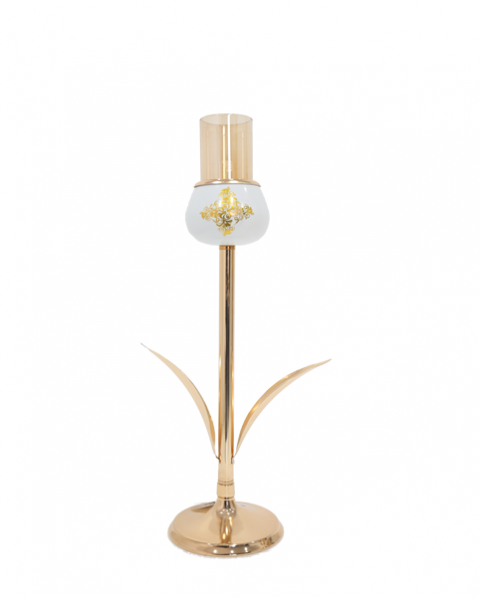 Golden candlestick holder with base height of 40 cm