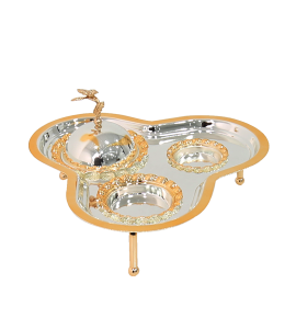 Elegant Serving Tray With Handles With Dates And 2 Stainless Steel Plates 14401-3467