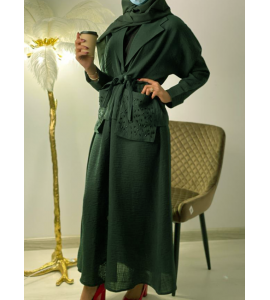 Embroidered abaya for women with subtraction 2994-100